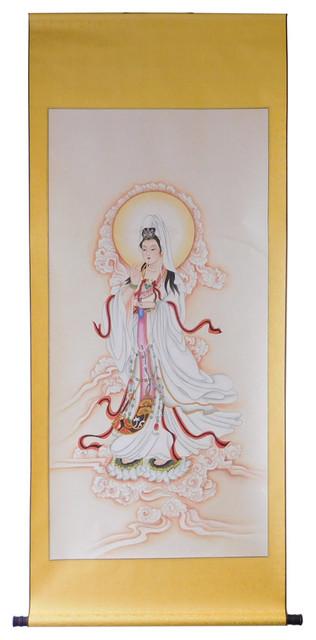 Handpainted Kwan Yin Bodhisattva Watercolor Scroll Painting Hcs1291