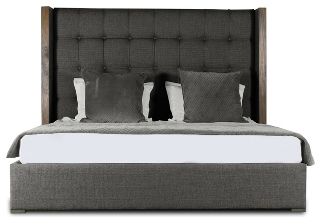 Claire Box Tufting Mid Height King Size Bed, Charcoal.