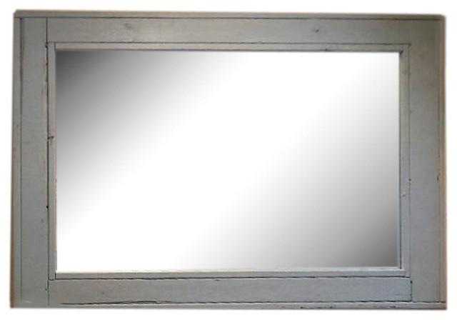 Herringbone Vanity Mirror, Antique White, 42x30, Horizontal.