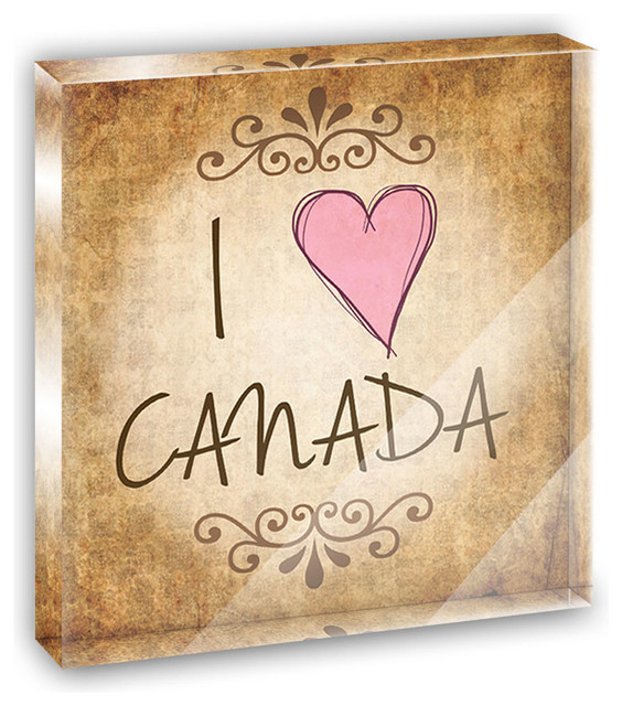 I Heart Love Canada Vintage Mini Desk Plaque and Paperweight contemporary-decorative-accents