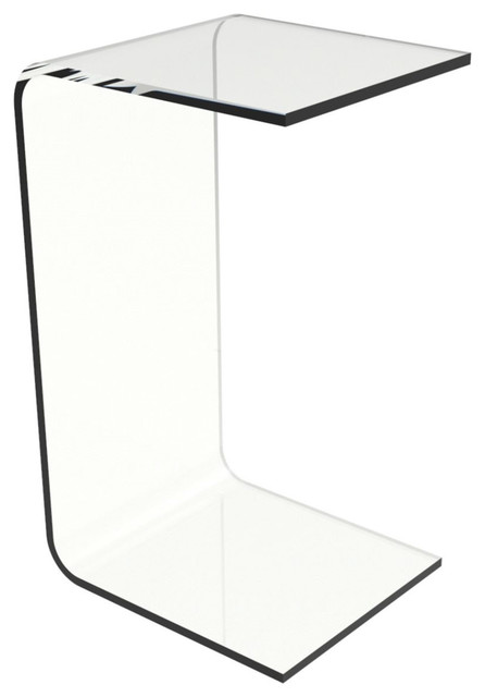 Modern C-Style Vertical Side Table in Clear