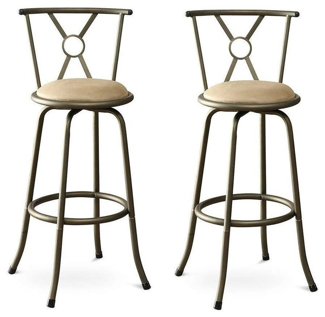 Marvelous Set Of 2 Adjustable Height Padded Seat Barstools Gamerscity Chair Design For Home Gamerscityorg
