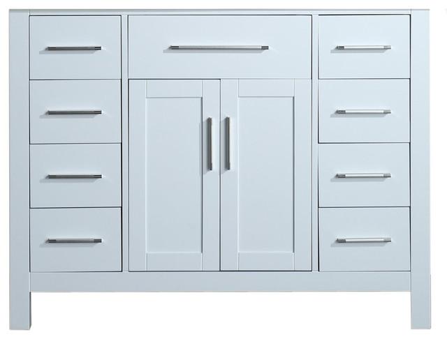 43&x27;&x27; Bosconi Single Vanity Set White With Marble, Undermount Sink.