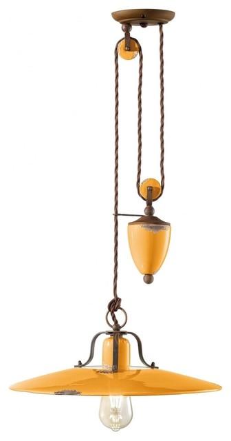 Saturno Rise & Fall Lamp, 1 Light, Yellow