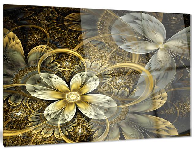 fractal orange yellow flowers digital metal wall art. Black Bedroom Furniture Sets. Home Design Ideas