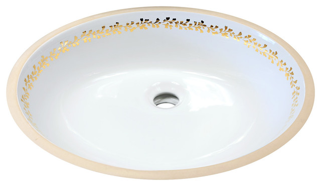 fancy under mount painted sink gold border traditional bathroom