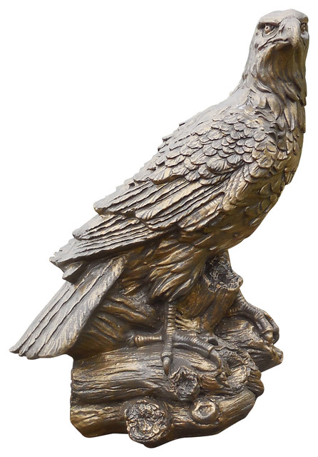 Jimu0027s Otisco Concrete Eagle Statue In Two Tone Brassy Bronze Finish  Traditional Garden Statues