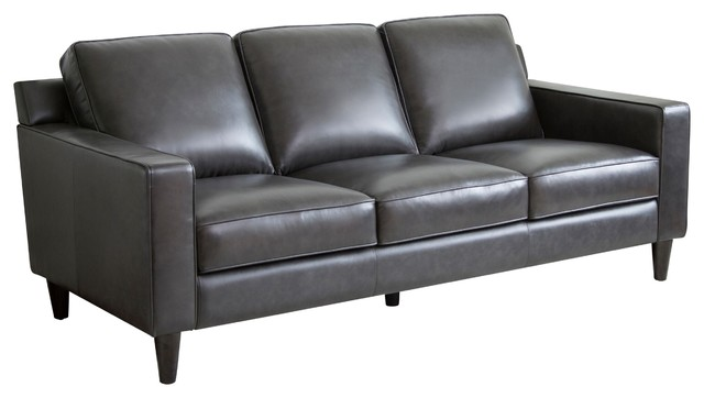 Abbyson Living Stardell Top Grain Leather Sofa, Dark Gray   Transitional    Sofas   By Abbyson Living