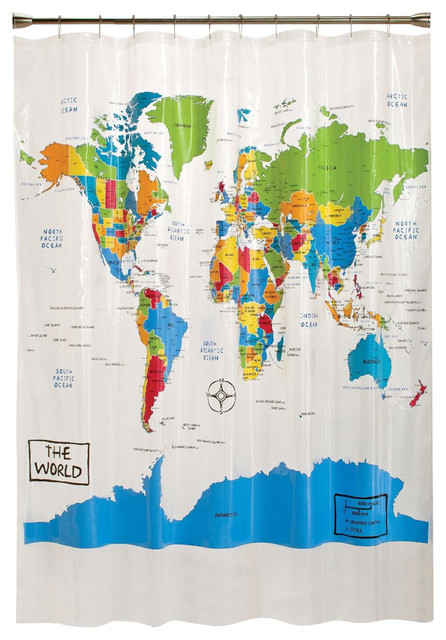 World Map Atlas Countries Oceans Map Shower Curtain Contemporary - World map with countries and oceans