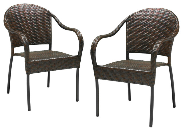 Rancho Outdoor Brown Gray Wicker Stackable Chairs Set Of 2 Transitional