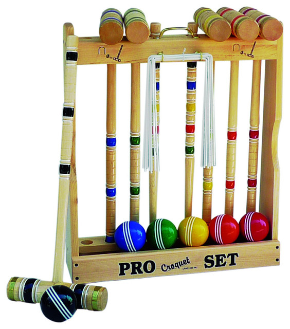 Maple Hardwood Croquet Set With Caddy 6 Player 24 Standard Handle