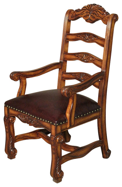 Solid Mahogany High Ladder Back Leather Occasional Arm