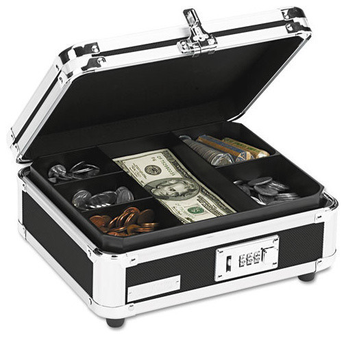 Plastic And Steel Cash Box With Tumbler Lock, Black And Chrome.