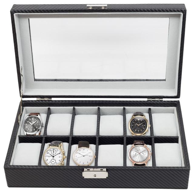 12-Piece Watch Display Case, Black Carbon Fiber.