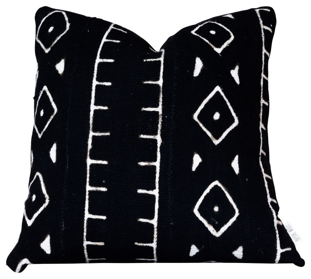 Cameroon Decorative Pillow, Authentic Black and White African Mud Cloth