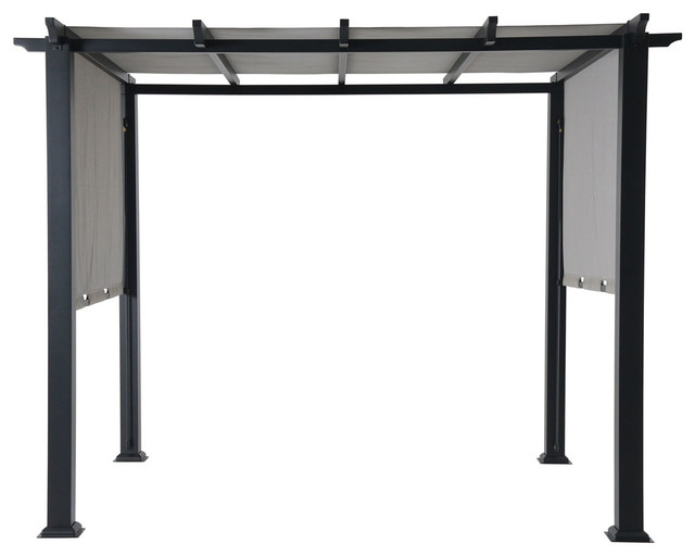 Hanover 8x10&x27; Metal Pergola With An Adjustable Gray Canopy.