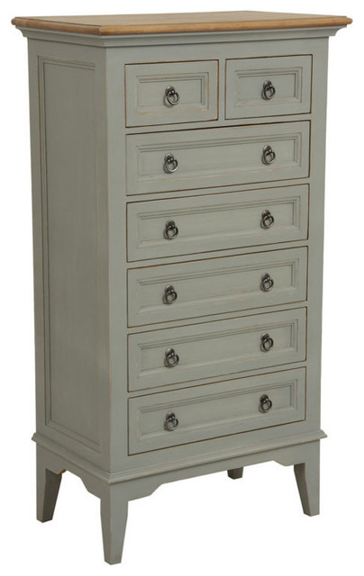 Esquisse 7-Drawer Chest Of Drawers, Aged Light Gray.