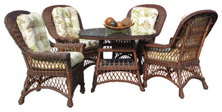 """Bar Harbor 5-Piece Dining Set With 42"""" Glass in Brown Wash, Fern Black Fabric"""