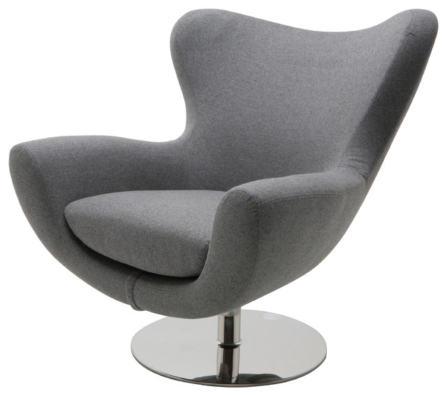 Conner Lounge Chair, Light Gray Wool.