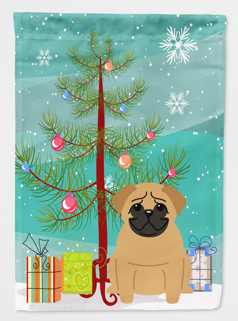 Merry Christmas Tree Pug Brown Garden Flag Contemporary Flags And Flagpoles