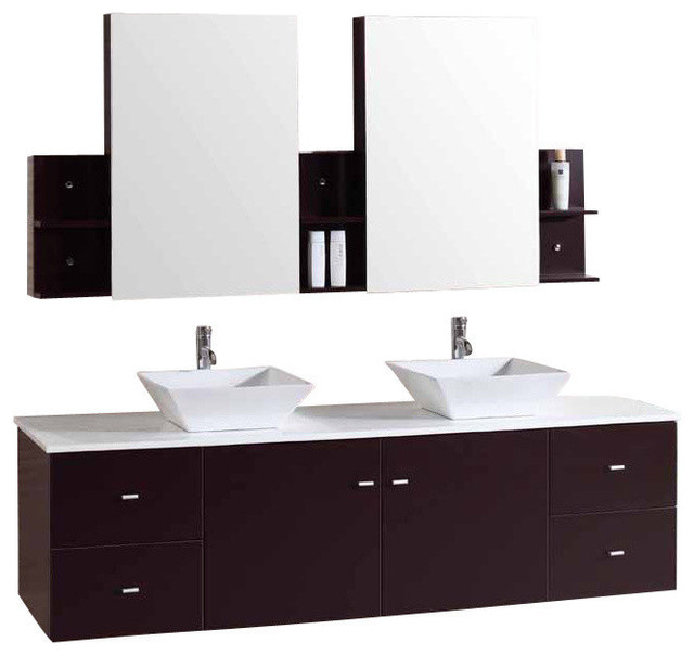 Floating Furniture Bathroom Vanity Double Cabinet Sink Marble - 72 floating bathroom vanity