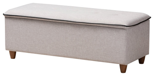 Mona Mid-Century Modern Walnut and Gray Beige Fabric Button Tufted Storage Bench
