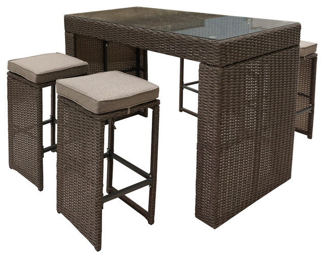 Oasis 5-Piece Bar Set, Brown.