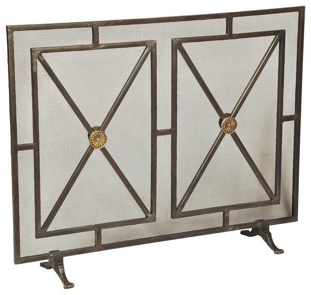 Bseid paneled fire screen fireplace screens houzz - Houzz fireplace screens ...