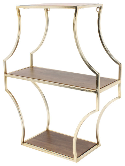 Liara Floating 3 Shelves Walnut Wood And Gold Mediterranean Display Wall By Uniek Inc