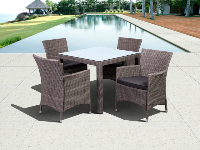 International Home Liberty 5 Piece Wicker Patio Dining Set Gray And