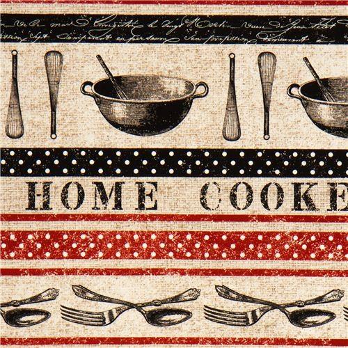 beige retro kitchen utensils stripes fabric Michael Miller ...