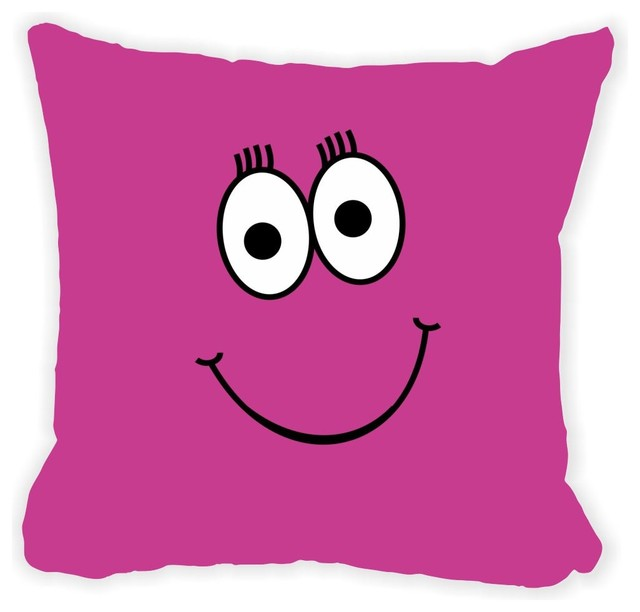 Shop Houzz Rikki Knight LLC Pink Cheeky Smiley Face Microfiber Throw Pillow - Decorative Pillows