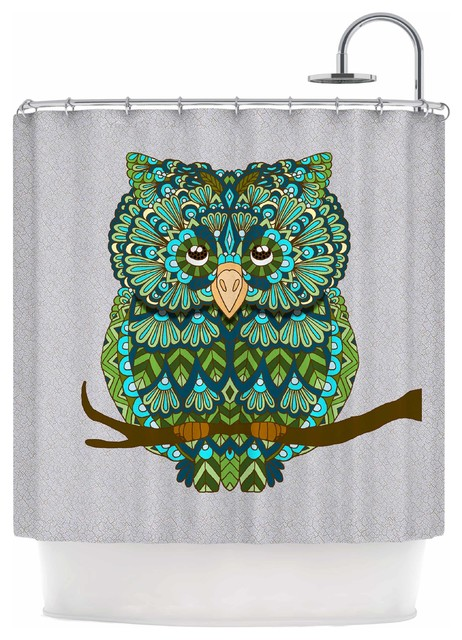 Art Love Passion Great Green Owl Teal Gray Shower Curtain Conte