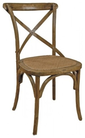 Artefac Cross Back Woven Wood Seat Chairs Set Of 2