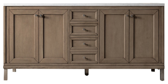 Chicago White Washed Walnut Double Vanity, Arctic Fall Solid Surface Top, 72.
