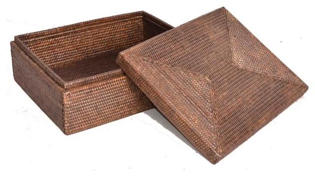 Artifacts Rattan Storage Box With Lid, Espresso.