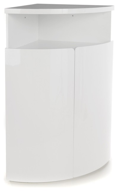New corner buffet d 39 angle haut blanc laqu contemporain for Petit meuble d angle blanc