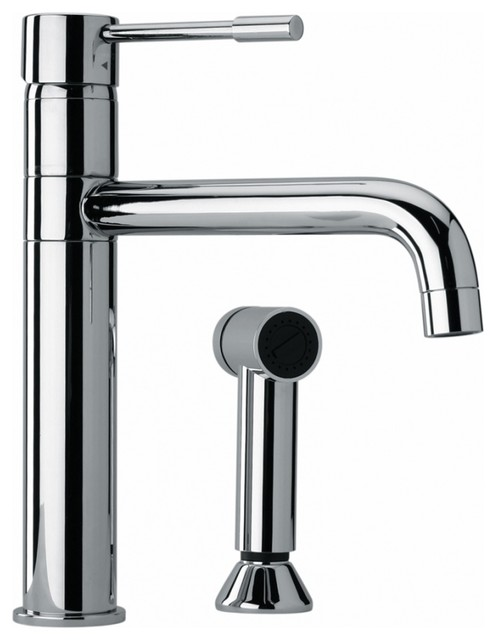 Modern Single Hole Single Handle Kitchen Sink Faucet With Side Sprayer Chrome Contemporary Kitchen Faucets By Unique Online Furniture Houzz