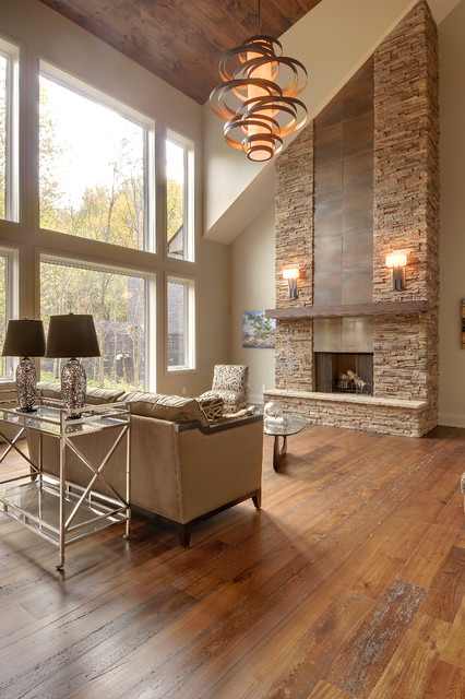contemporary living room with fireplace alta modern chalet 20218
