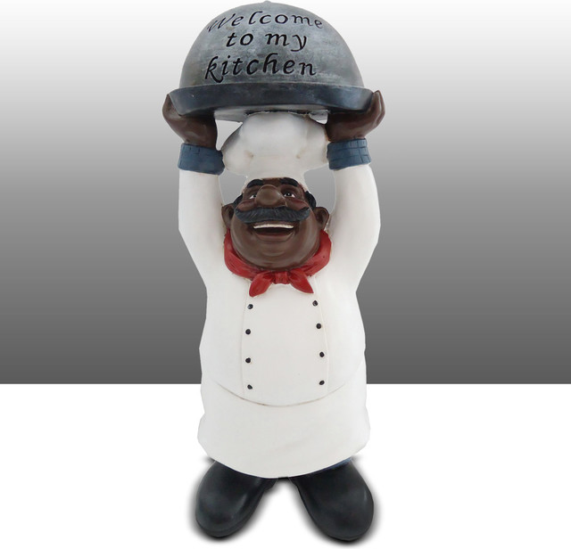 Attirant Chef Kitchen Statue With Welcome To Kitchen Sign Table Art Decor