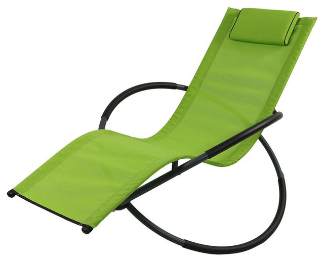 orbital folding zero gravity rocking lounger with pillow