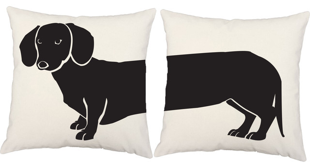 RoomCraft Dachshund Throw Pillow Covers Contemporary Outdoor