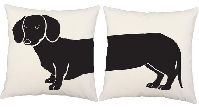 Dachshund 2-Piece Indoor/Outdoor Pillow Set, White