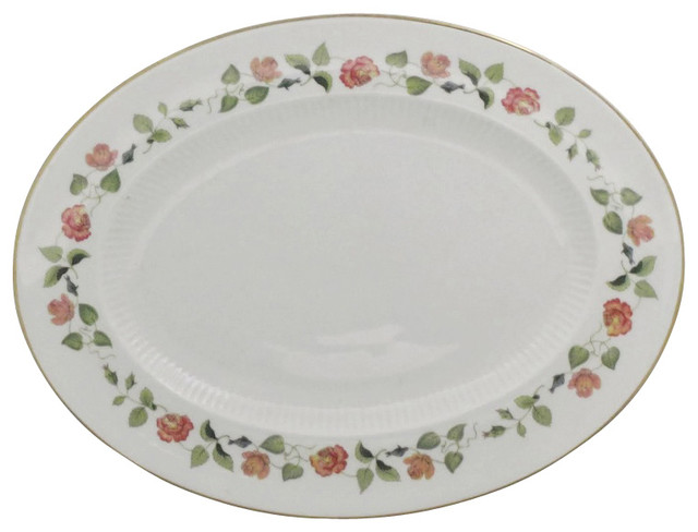 Wedgwood India Rose Oval Serving Platter Traditional