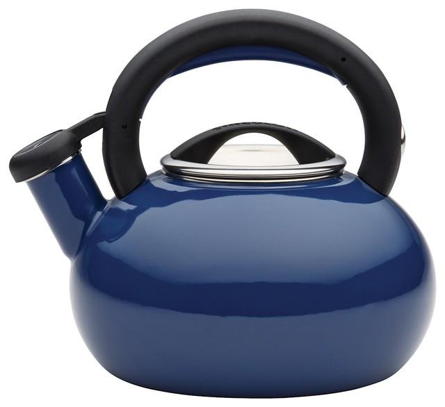 Circulon Teakettles Sunrise Whistling Teakettle, 1 1/2-Quart, Navy Blue.