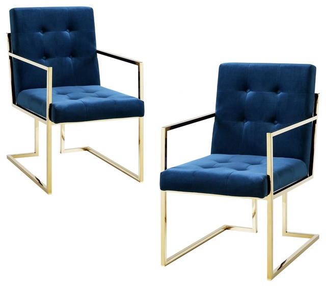Miraculous Adalie Tufted Square Arm Dining Chair Set Of 2 Navy Velvet Bralicious Painted Fabric Chair Ideas Braliciousco