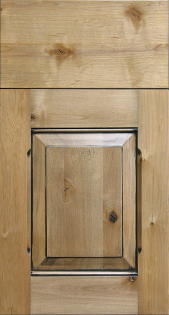 Knotty Alder Raised Panel Cabinet Door With Black Chalking Rustic
