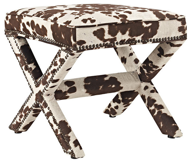 Rivet Upholstered Fabric Bench, Cow. -1