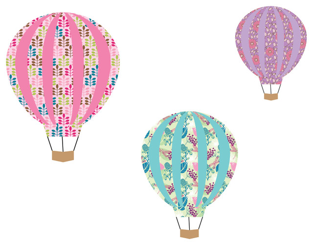 Hot Air Balloon Stickers - Hot Air Balloon Wall Decals - Hot Air Balloon  Nursery contemporary