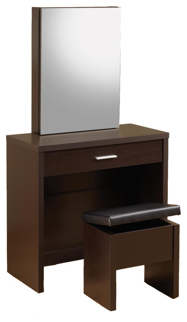 Shop Houzz CO Fine Furniture Glossy Make Up Table Vanity Set Hidden Storage